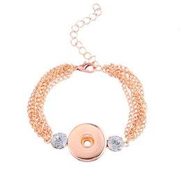 Wholesale Crystal Gifts For Birthday - Crystal noosa bracelets rose gold chunks button snaps hand cuff for children DIY jewelry birthday gift 270077