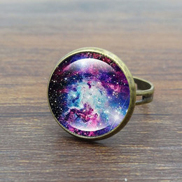 Wholesale Bronze Cabochon Ring Settings - Wholesale- XUSHUI XJ Galaxy Space Glass Cabochon rings for women men fashion Jewelry Antique Bronze Vintage ring adjustable