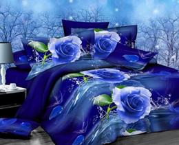 Wholesale Queen Comforter Set Black White - TOP quality 4 pcs cotton reactive print Designers 3d bedding sets flowers print comforter duvet covers bedclothes bed Linen