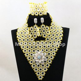 Wholesale Yellow Sego Gele - nigerian jewelry set white yellow african beads handmade necklace set match for multi color african sego headtie gele and aso ebi wedding