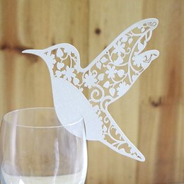 Wholesale Recycled Tables - Morning Glory Butterfly Bird Laser Pearl Paper Creative Red Wine Glass Card Clip Wedding Seat Guest Table Card Drop Shipping