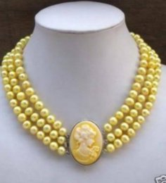 Wholesale Pearls Cameo Necklace - Natural 3Row Yellow Pearl Necklace Cameo Beauty Clasp
