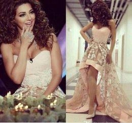 Wholesale Sexy Singers - Arabic Famous Singer Myriam Fares Strapless Prom Dresses Hi Lo Pearl Lace Sheer Backless Formal Evening Party Gowns BO8131