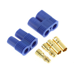 Wholesale Male Bullet Connectors - High Quality 1pairs Male   Female EC3 Style Connector w  2pairs 3.5mm Gold Bullet Plug