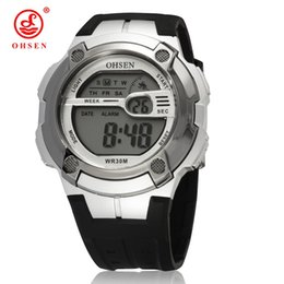 Wholesale Display Relojes - Hot sale OHSEN brand men digital LED Wristwatch electronic display silicone band white popular army boys hand clocks relojes