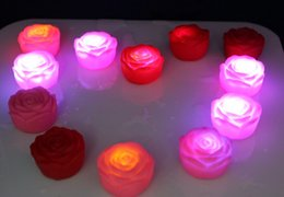 Wholesale Roses Light Bulbs - New arrive 7 Changeable Color LED Rose Flower Candle lights roses love lamp free shipping ZD069