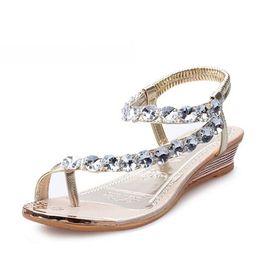 Wholesale Rhinestone Beaded Flat Sandals - 2016 New Sweet Crystal Rhinestone Summer Sandals Women Gladiato Sandals Bohemia Beaded Flats Soft Platform Shoes