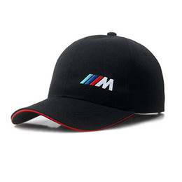 Wholesale Car Dome - Brand Designer 100% Cotton M Power Logo Adjustable Embroidery Snapback BMW Car Baseball Hat Unisex Racing Baseball Cap