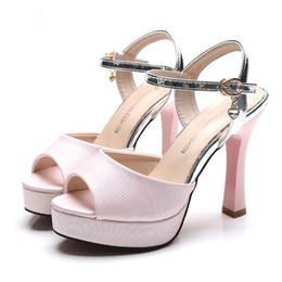 Wholesale Open Toe Diamond Ankle Shoes - 2016 New Style Sandals Korean Style High Heel Shoes Artificial Diamond Platform Women Shoes Peep Toe