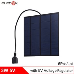 Wholesale Solar 3w Phone - ELEGEEK 5Pcs Lot 3W 5V USB Output Solar Cell Panel with Regulator PET Laminated Polycrystalline Solar Cell for Cell Phone Power Bank etc.