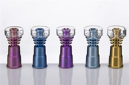 Wholesale Wholesale Colored Dishes - DHL 2 In 1 Colorful Titanium Nail With Quartz Dish Anodized Colors 14mm & 18mm Female Joint Colored Domeless 328