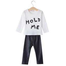 Wholesale Cotton Leather Shirts Wholesale - Wholesale-Sweet Baby Clothes Set 2pcs Suit Babies Girls Clothes Letter Pattern Long Sleeve T-shirt Pants Cotton T-shirt and Leather Pants