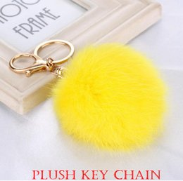 Wholesale White Pendant Light Bulb Holder - Plush Fashion Key Chain 8cm Pompon Lovely Hair Bulb Pendant Bag Car Pendant Hang Decorations Lady Accessories Bea020