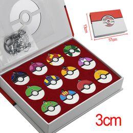 Wholesale Pokemon Gift Set - 12Pcs set PokeBall keychain 3cm necklace Poke Ball Anime Action Figures Toys Pocket center Retro Pocket Monster Necklace with gift box