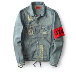 Wholesale Jacket Green Denim Men - Hiphop Men's Clothes Brand Clothing Fear Of God Four Two Four 424 Spring Broken Hole Jeans Designer Ripped Denim Jacket Coat Free shipping