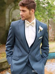 Wholesale Thin Lapel Piece Suits - The latest blue handsome thin body suit the groom's best man formal custom groom (coat + pants + vest + bow)