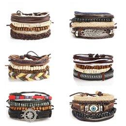 Wholesale Woven Beaded Bracelet Wholesale - Cool Casual Men Jewelry Geometric Wood Beaded Bracelets For Women Multilayer Woven Wrap Leather Cord Bracelet Male Vintage Chic Accessories