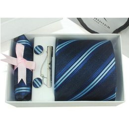 Wholesale silk tie gift box - New model 6pcs set 100% Silk ties Men's Ties f ashion Necktie set Plaid Stripe Mans Tie Neckties with gift box free shipping