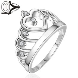 Wholesale Silver Jewerly China - Wholesale Silver-plated Ring,Silver Fashion Jewelry,Women&Men Gift Swiss Stone Heart Crown Silver Finger Rings Wedding Jewerly Ring Male