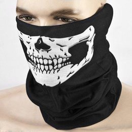 Wholesale Cap Mask Function - Halloween Skull Skeleton Masks Outdoor Motorcycle Bicycle Multi function Headwear Hat Scarf Half Face Mask Cap Neck Ghost Scarf