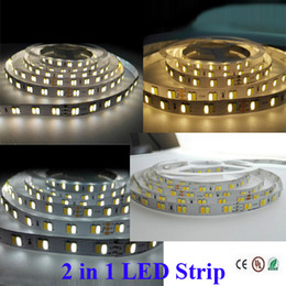 Wholesale Epistar Strip - 2 colors in 1 Chip 5M DC12V SMD5050 LED Strip Lights Double Color Flexible Tape Ribbon Lights Epistar Chip White+Warm white DHL Free
