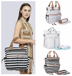 Wholesale Striped Maternity - Multifunctional Striped Maternity Mummy Nappy Bags Tote Baby Stroller Shoulder Diaper Bag with Baby stroller hook Every urine pad LJJK760