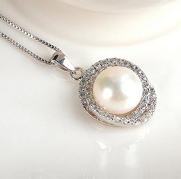 inlaid pearl pendant Canada - AAA 11-12mm oblate natural pearl pendant pearl necklace 925 silver inlay zircon