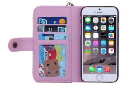 Wholesale Iphone Billfold - Zipper Billfold Wallet Leather Phone Case Multi-functional Bag with Card Slot Money Pocket for Samsung s7 edge s6 Note5 iphone7 6s 5G SE