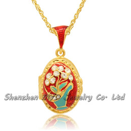 Wholesale Rhinestone Flower Vases - Fashion jewelry findings women Russian style crystal flower vase Easter egg pendant locket necklace hand enamel with gold plating