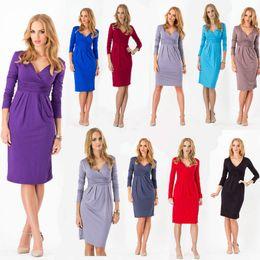 Wholesale Hot Sale Dresses For Work - Hot sales women's dresses long sleeve autumn clothes sexy V-neck slim dress for ladies clothes Plus size work clothes casual dresses