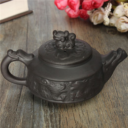 Wholesale Chinese Tea Set Dragon - New Arrival Chinese Dragon Kung Fu Tea Sets Yixing Purple Clay Teapot Black Teacup Tea Service High Quality Tea Set