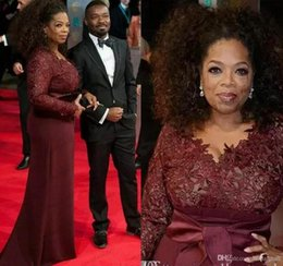 Wholesale Oprah Dresses - 2018 Oprah Winfrey Burgundy Long Sleeves Sexy Mother of the Bride Dresses V-Neck Sheer Lace Sheath Plus Size Celebrity Red Carpet Gowns Sale