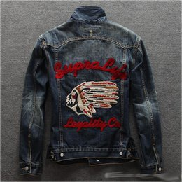 Wholesale Jaqueta Jeans Masculina - 2017 Spring Autumn Mens Jackets Brand New Slim Fit Vintage Denim Patch Designs Jeans Jacket Men Coats Plus Size Jaqueta Masculina