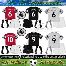Wholesale Red Soccer Socks Youth - 2017 2018 ibrahimovic kids kits with socks patch 17 18 Man Utd POGBA Soccer Jersey United Rashford MATA Home away 3RD youth football shirts