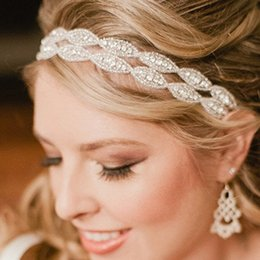 Wholesale bridal hair ribbons - Romantic Wedding Bridal Crystal Headband Headpiece Rhinestone Ribbon Hair Band For Bride Hair Jewelry Women hair accessories