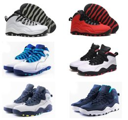 Wholesale Chi Flat - With Box Cheap Air Retro 10 Paris NYC CHI Rio LA Hornets City Pack Vivid Pink 10s Men Basketball Shoes Sneakers Retro X Sports Shoes 8-13