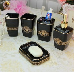 Wholesale Black Color Ceramic Bathroom Accessories Elegant Pieces Bathroom sets soap bottle soap dish toothbrush holder cups