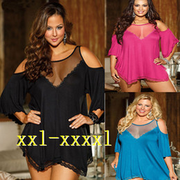 Wholesale Lingerie Lace Fabric - Wholesale- Big Discount Plus XL XXL 3XL 4XL Ladies Lace Slips Soft Fabric Nightgowns Loose Mesh Sleepwear Lingerie Nightdress High Quality