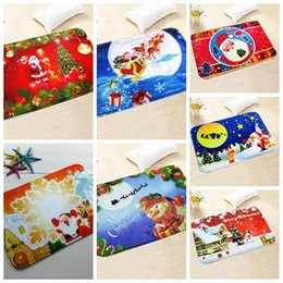 Wholesale Home Kitchen Decor - 7 Styles New 40*60cm Christmas Floor Mat HD Printed Non-Slip Kitchen Bath Mat Absorbent Waterproof Home Decor CCA7609 10pcs