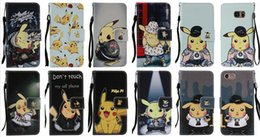 Wholesale Pokemon Iphone Case - Pikachu Poke Wallet Leather For IPhone 7 I7 7g 4.7'' Iphone7 Plus 7Plus 5.5'' 7P 7+ PU Cartoon Monster Cases Flip Cover Pouch Case+Strap