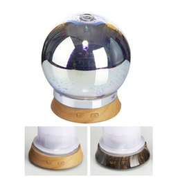 Wholesale glass aroma diffuser - With 7 Colors LED Lights Mini Aroma Mist Diffuser Fresh Air Seven Colors Gradient Humidifier Round 3D Ultrasonic Glass Diffuser