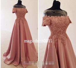 Wholesale Cap Shoulders Fitted Prom Dresses - 2017 Romantic Pink Prom Dresses A-Line Short Sleeves Long Lace Formal Special Occasion Fitted Evening Party Gowns For Women Plus size