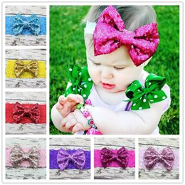 Wholesale Sequined Hair Bows - New Baby Lace Headbands Girls Kids Elastic Bow Headbands Sequined Paillette Bowknot Hairbands Children Hair Accessories 12 Colors KHA359