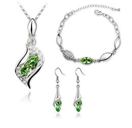 Wholesale Three Eyes Animal - Hot spring and summer fashion crystal jewelry sets over drilling horse eye crystal necklace bracelet earrings three-piece girl set specifica