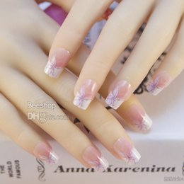 Wholesale Designed Nail Tips - 24pcs set pre designed french Acrylic nail full tips full cover tips with free nail glue JQ006