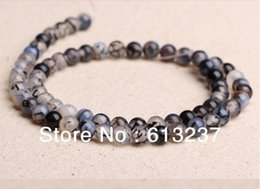 Wholesale Dragon Veins - hot Free postage diy ornaments natural 4mm 6mm 8mm 10mm 12mm gray Dragon Veins Agate round beads jewelry making YE0014