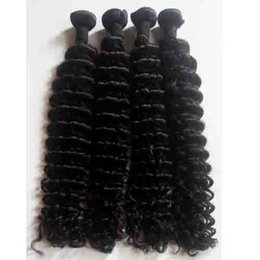 Wholesale China Hair Pieces - Wholesale human hair weave china Deep Wave Brazilian Peruvian Malaysian virgin human Hair Weft 3pcs lot Natural Color Indian remy human Hair