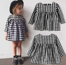 Wholesale Wholesale Black White Dresses - INS Girls Black Plaid Dress 2017 Long Sleeve Black And White Plaid Girls Princess Dress Classic Children's Dresses Baby Girl Winter Clothes