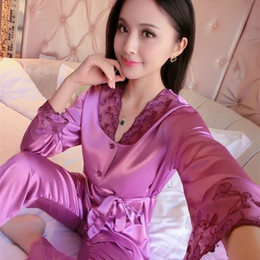 Wholesale Green Satin Pajamas - Wholesale- Womens Lace Silk Sleepwear Pajamas Sets Satin Spring Autumn Long-sleeved Pyjama Leisure Loungewear Champagne Set