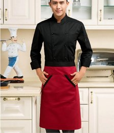 Wholesale Hotel Catering - White Kitchen Cooking Aprons Work Dining Half length Waist Apron Catering Chefs Hotel Waiters Sleeveless Apron Schort Tablier